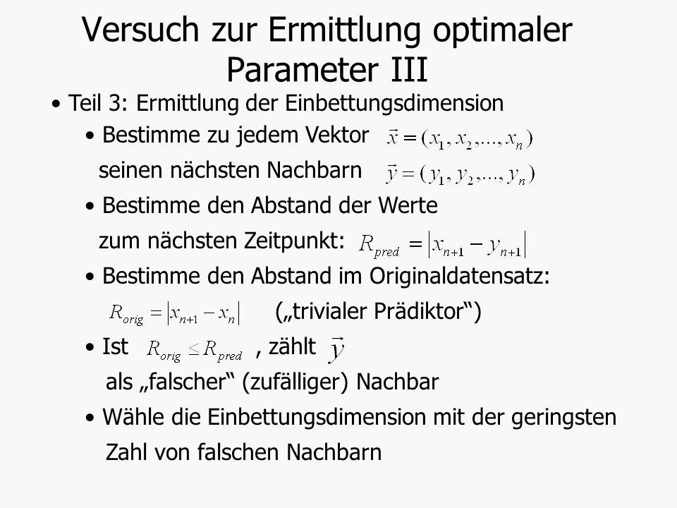 Versuch zur Ermittlung optimaler Parameter III Teil 3: Ermittlung der Einbettungsdimension Bestimme zu jedem Vektor seinen nächsten Nachbarn Bestimme