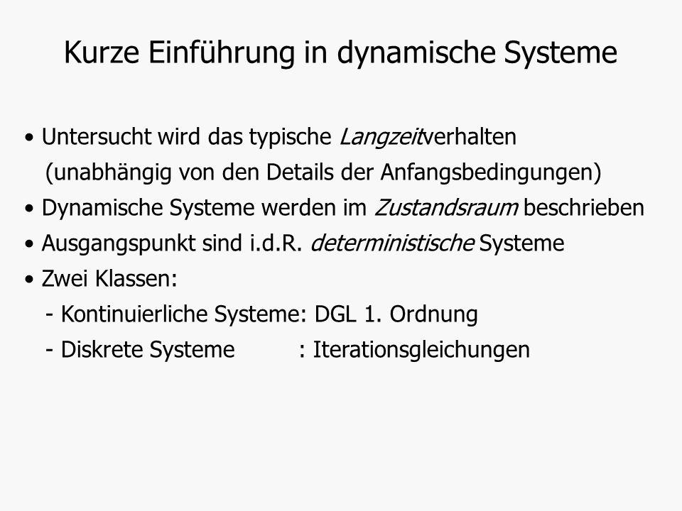 Untersucht wird das typische Langzeitverhalten (unabhängig von den Details der Anfangsbedingungen) Dynamische Systeme werden im Zustandsraum beschrieb