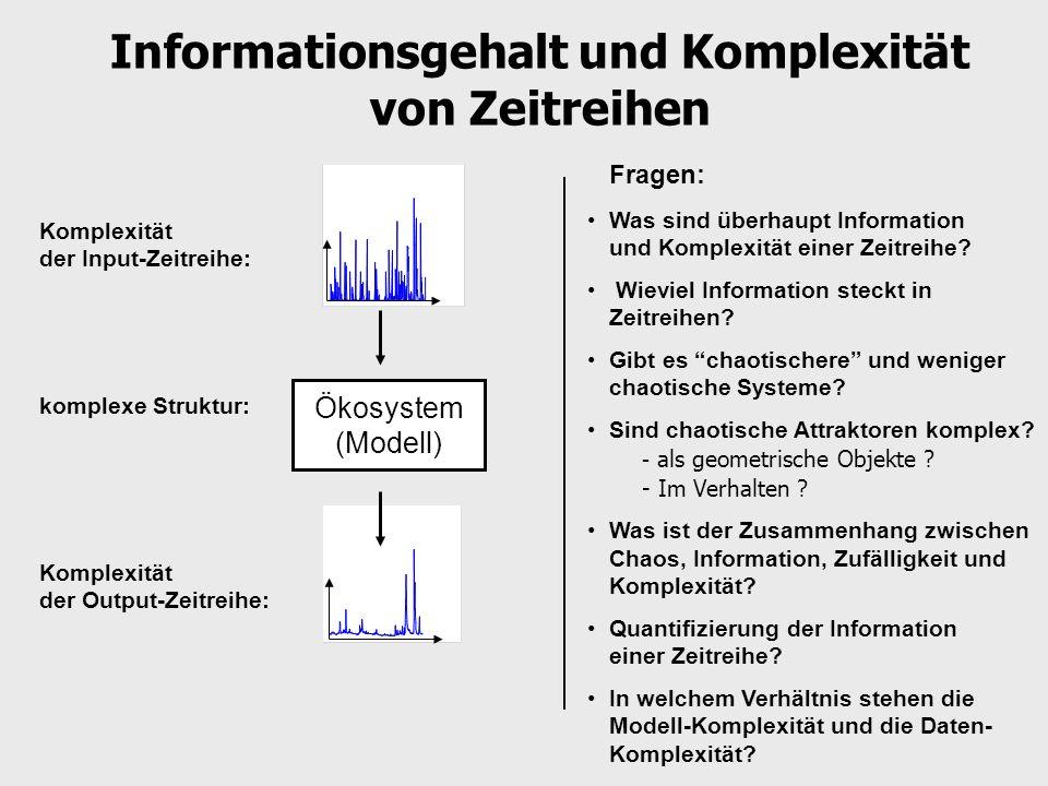 Information und Komplexität von Zeitreihen Komplexitäts-Maße InformationsmaßeKomplexitätsmaße (Zufälligkeit, Unordnung, Maß erster Ordnung) (Maß für Struktur, Maß zweiter Ordnung) Information Komplexität Information Komplexität Information