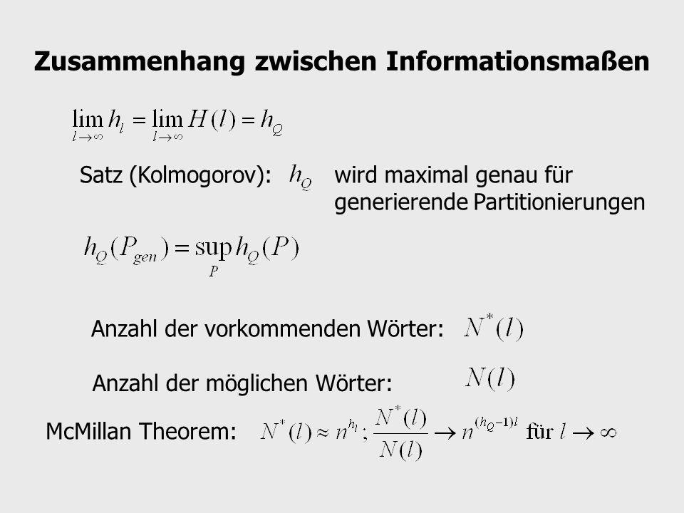 Zusammenhang zwischen Informationsmaßen Satz (Kolmogorov):wird maximal genau für generierende Partitionierungen Anzahl der vorkommenden Wörter: Anzahl