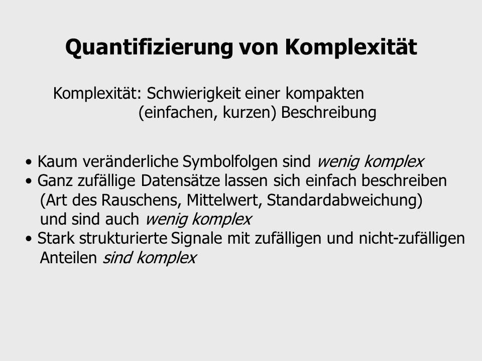 Quantifizierung von Komplexität Komplexität: Schwierigkeit einer kompakten (einfachen, kurzen) Beschreibung Kaum veränderliche Symbolfolgen sind wenig