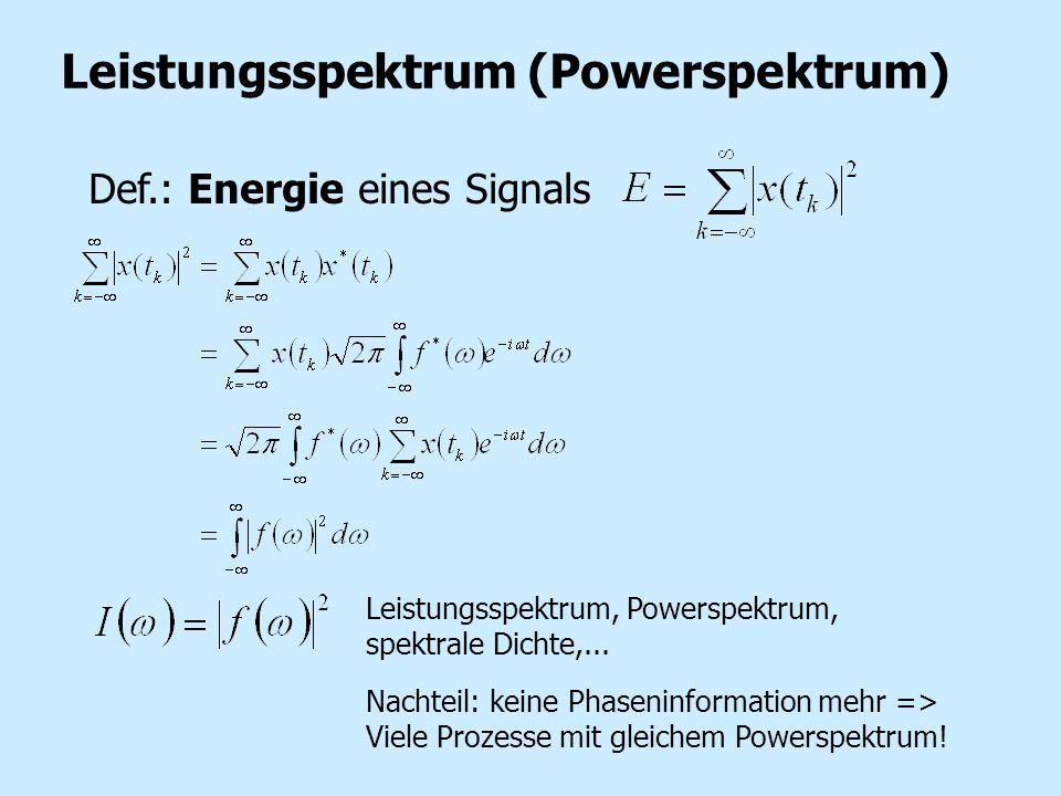 Leistungsspektrum (Powerspektrum) Def.: Energie eines Signals Leistungsspektrum, Powerspektrum, spektrale Dichte,... Nachteil: keine Phaseninformation