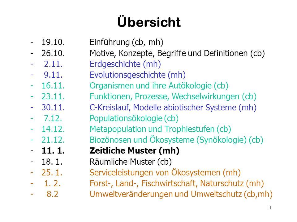 1 Übersicht -19.10. Einführung (cb, mh) -26.10. Motive, Konzepte, Begriffe und Definitionen (cb) - 2.11. Erdgeschichte (mh) - 9.11. Evolutionsgeschich