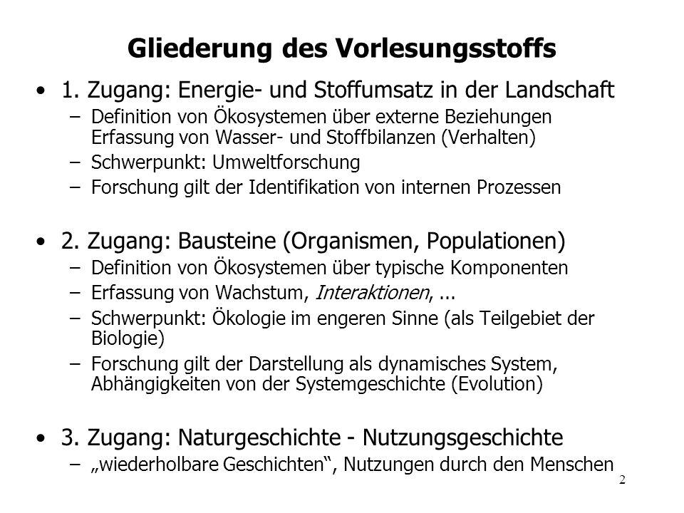 2 Gliederung des Vorlesungsstoffs 1. Zugang: Energie- und Stoffumsatz in der Landschaft –Definition von Ökosystemen über externe Beziehungen Erfassung