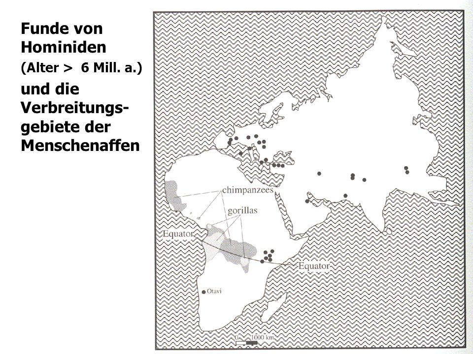 8 Funde von Hominiden (Alter > 6 Mill. a.) und die Verbreitungs- gebiete der Menschenaffen