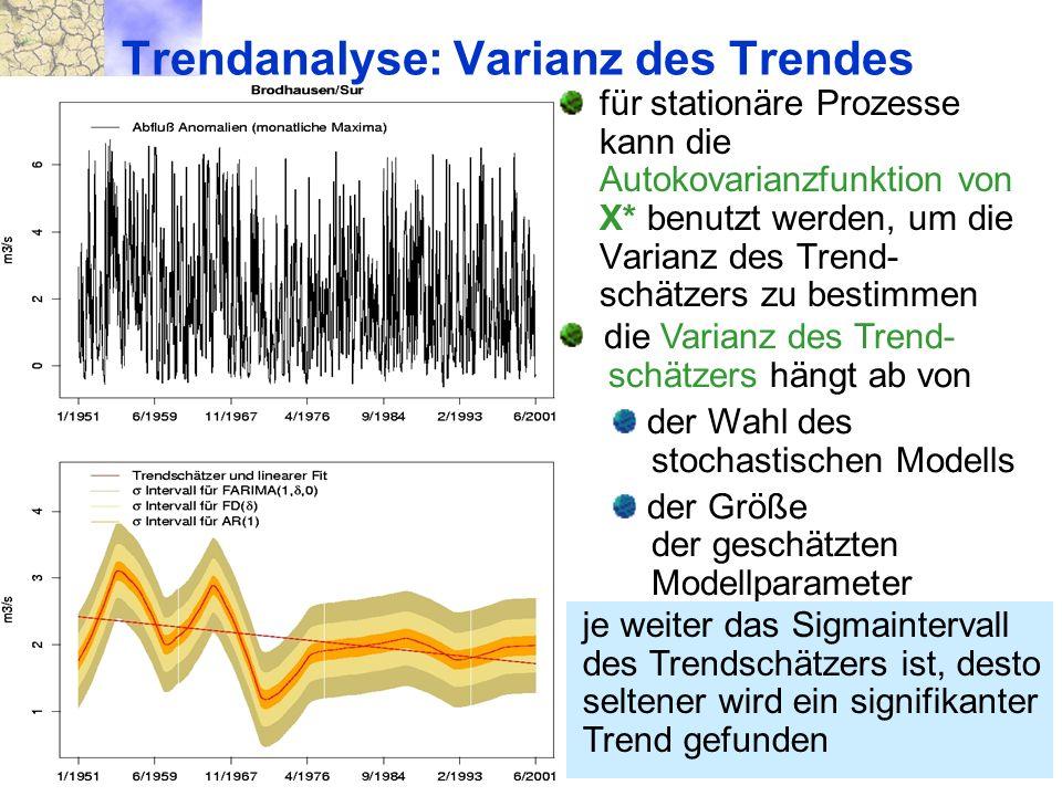 21. 10. 2004 München Trendverhalten und Instationarität von Verteilungen die Varianz des Trend- schätzers hängt ab von der Wahl des stochastischen Mod