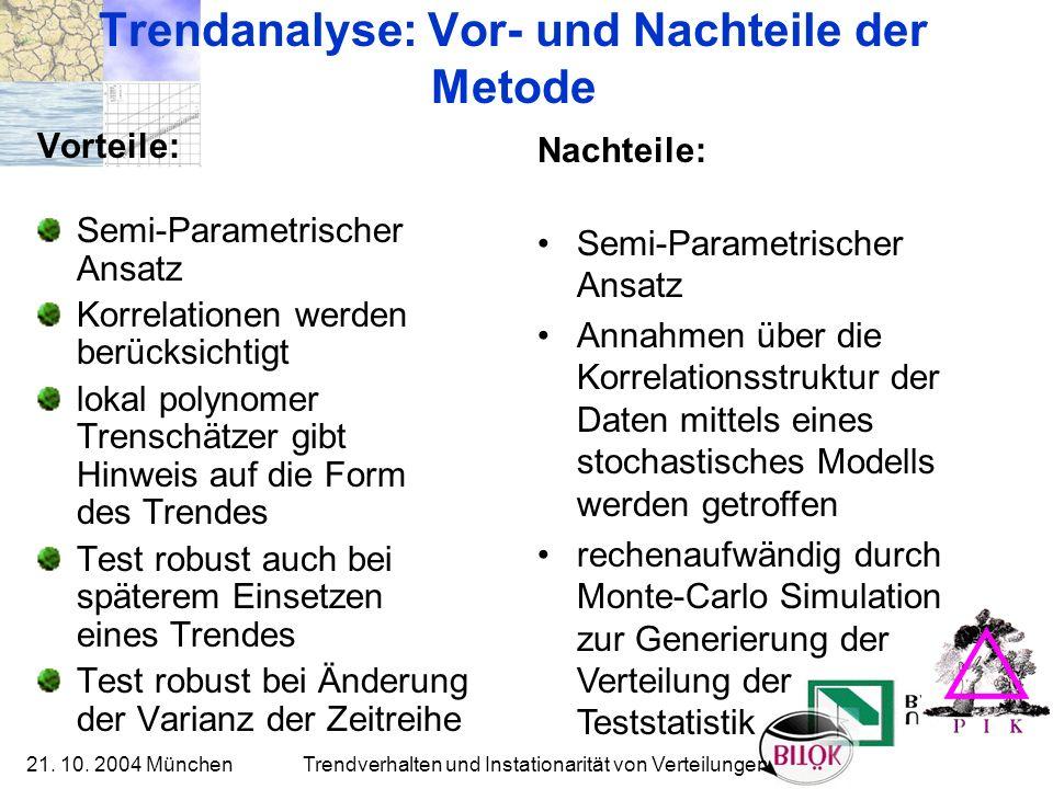 21. 10. 2004 München Trendverhalten und Instationarität von Verteilungen Trendanalyse: Vor- und Nachteile der Metode Vorteile: Semi-Parametrischer Ans