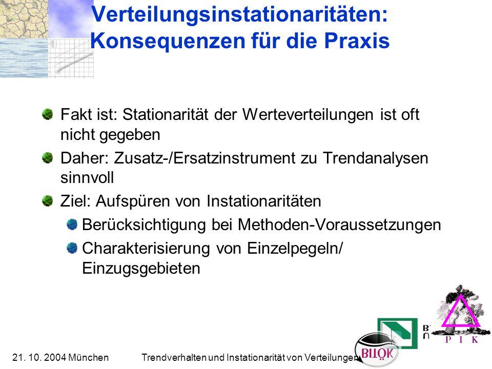 21. 10. 2004 München Trendverhalten und Instationarität von Verteilungen Verteilungsinstationaritäten: Konsequenzen für die Praxis Fakt ist: Stationar