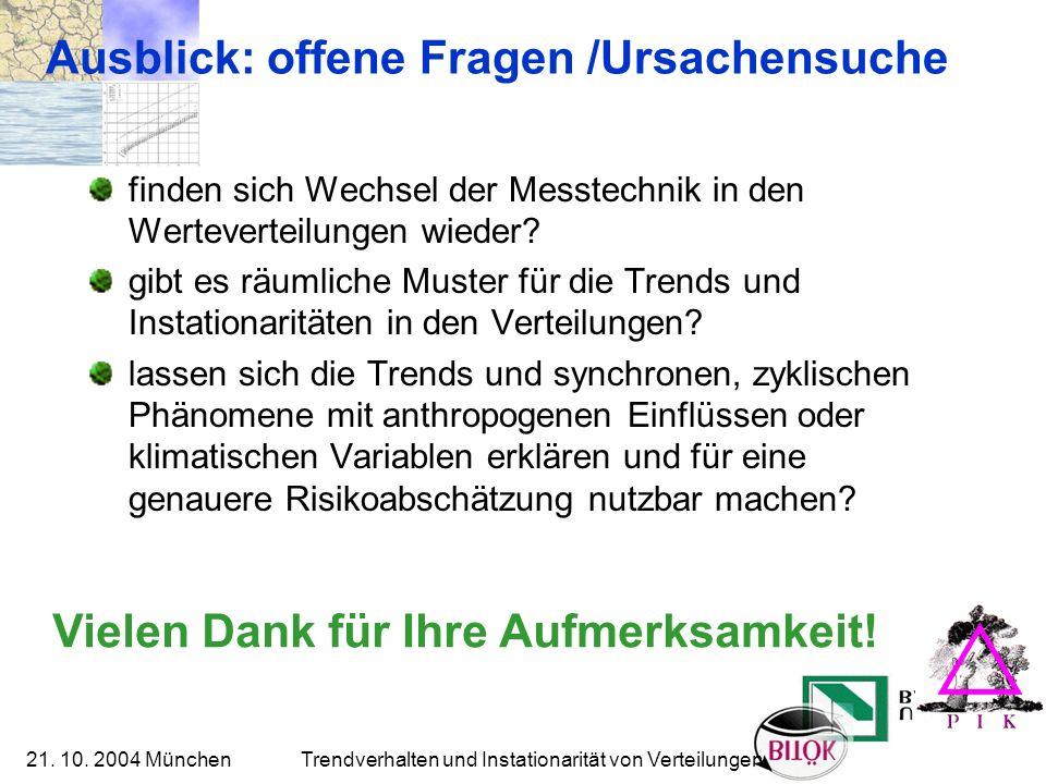 21. 10. 2004 München Trendverhalten und Instationarität von Verteilungen Ausblick: offene Fragen /Ursachensuche finden sich Wechsel der Messtechnik in
