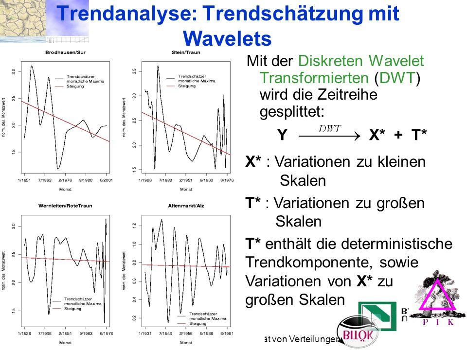 21. 10. 2004 München Trendverhalten und Instationarität von Verteilungen Mit der Diskreten Wavelet Transformierten (DWT) wird die Zeitreihe gesplittet