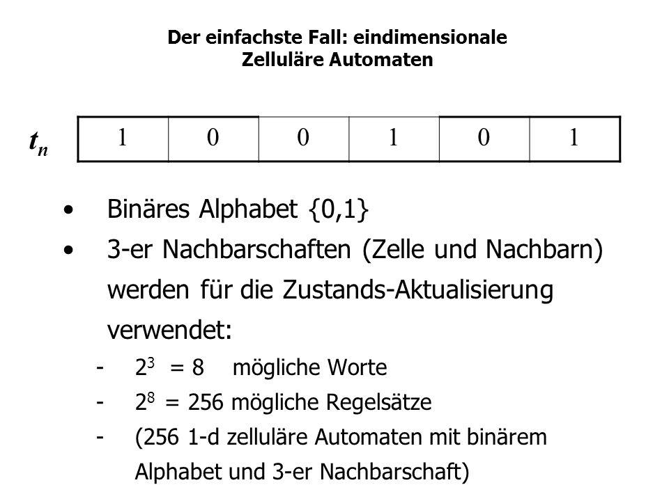 Der einfachste Fall: eindimensionale Zelluläre Automaten Binäres Alphabet {0,1} 3-er Nachbarschaften (Zelle und Nachbarn) werden für die Zustands-Aktu