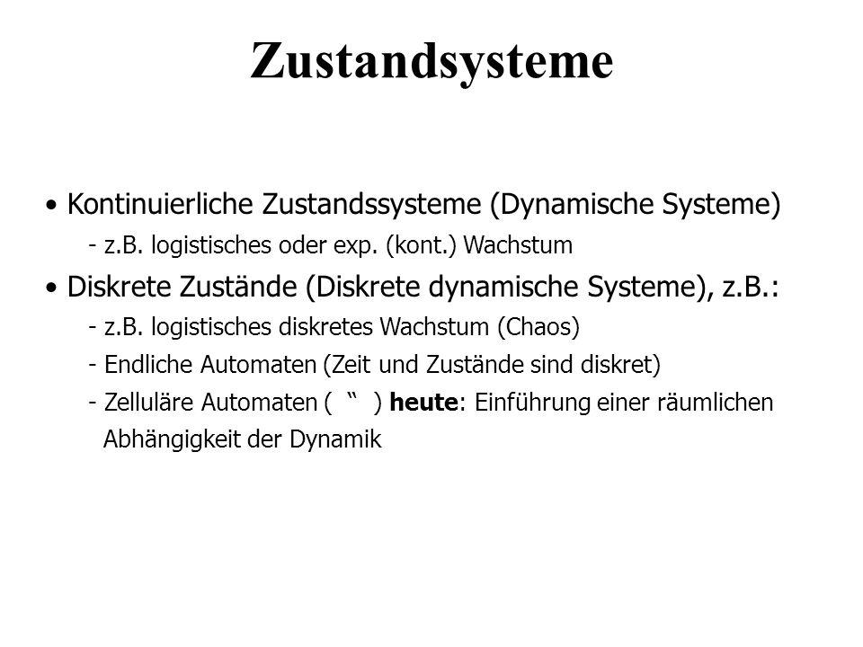 Kontinuierliche Zustandssysteme (Dynamische Systeme) - z.B. logistisches oder exp. (kont.) Wachstum Diskrete Zustände (Diskrete dynamische Systeme), z