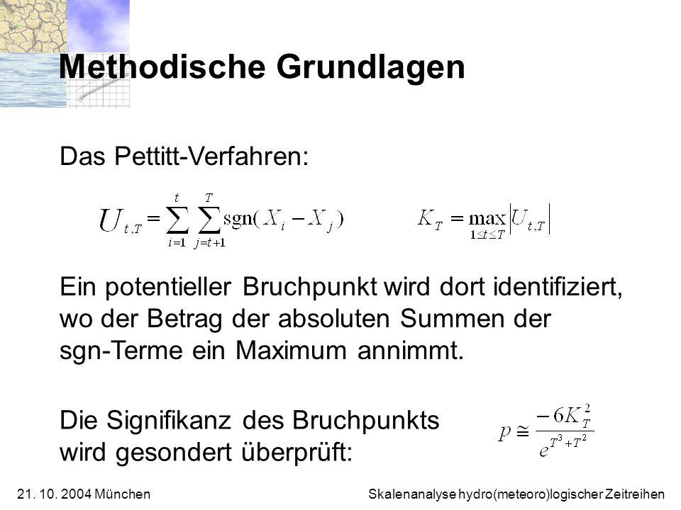 21. 10. 2004 München Skalenanalyse hydro(meteoro)logischer Zeitreihen Methodische Grundlagen Die Signifikanz des Bruchpunkts wird gesondert überprüft: