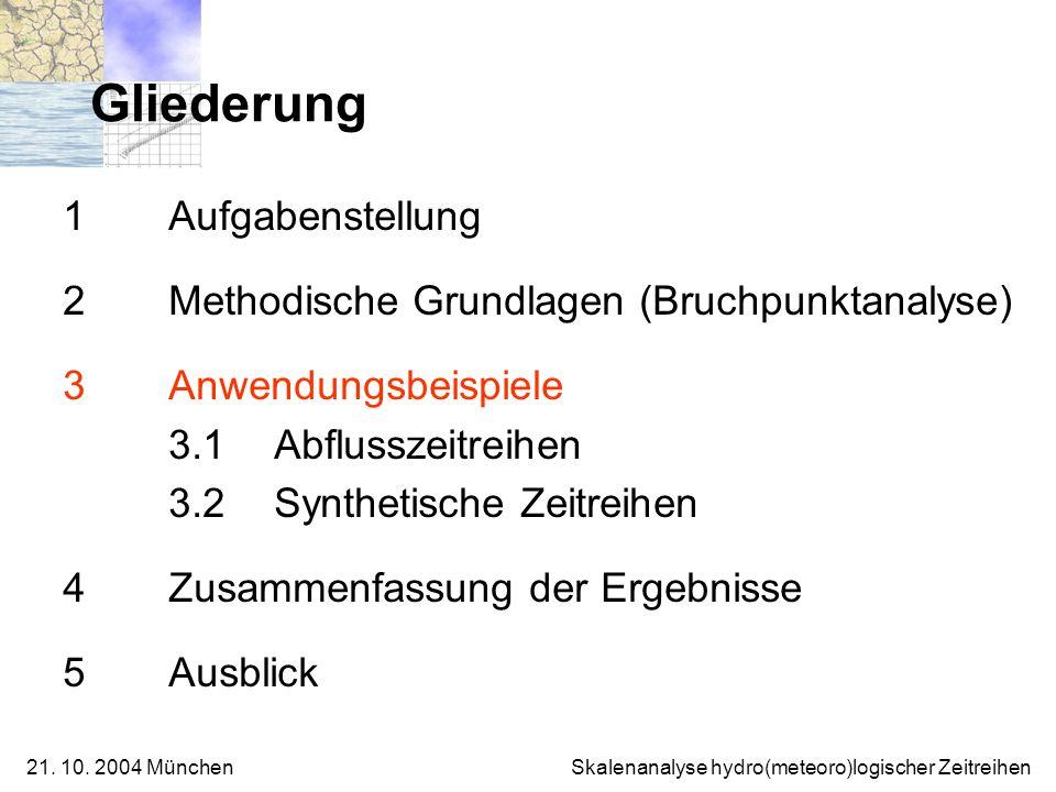 21. 10. 2004 München Skalenanalyse hydro(meteoro)logischer Zeitreihen 1 Aufgabenstellung 2 Methodische Grundlagen (Bruchpunktanalyse) 3 Anwendungsbeis