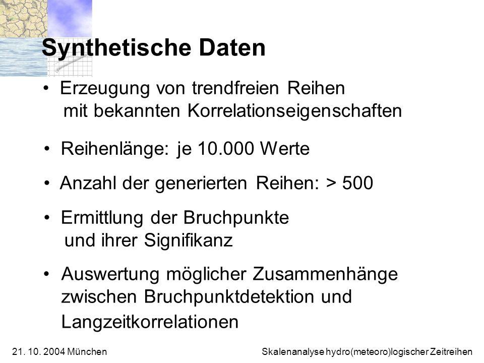 21. 10. 2004 München Skalenanalyse hydro(meteoro)logischer Zeitreihen Synthetische Daten Auswertung möglicher Zusammenhänge zwischen Bruchpunktdetekti