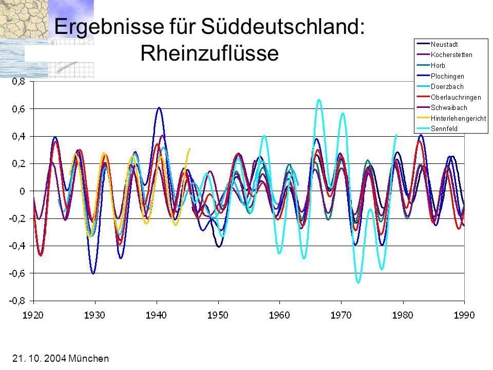 21. 10. 2004 München Ergebnisse für Süddeutschland: Rheinzuflüsse