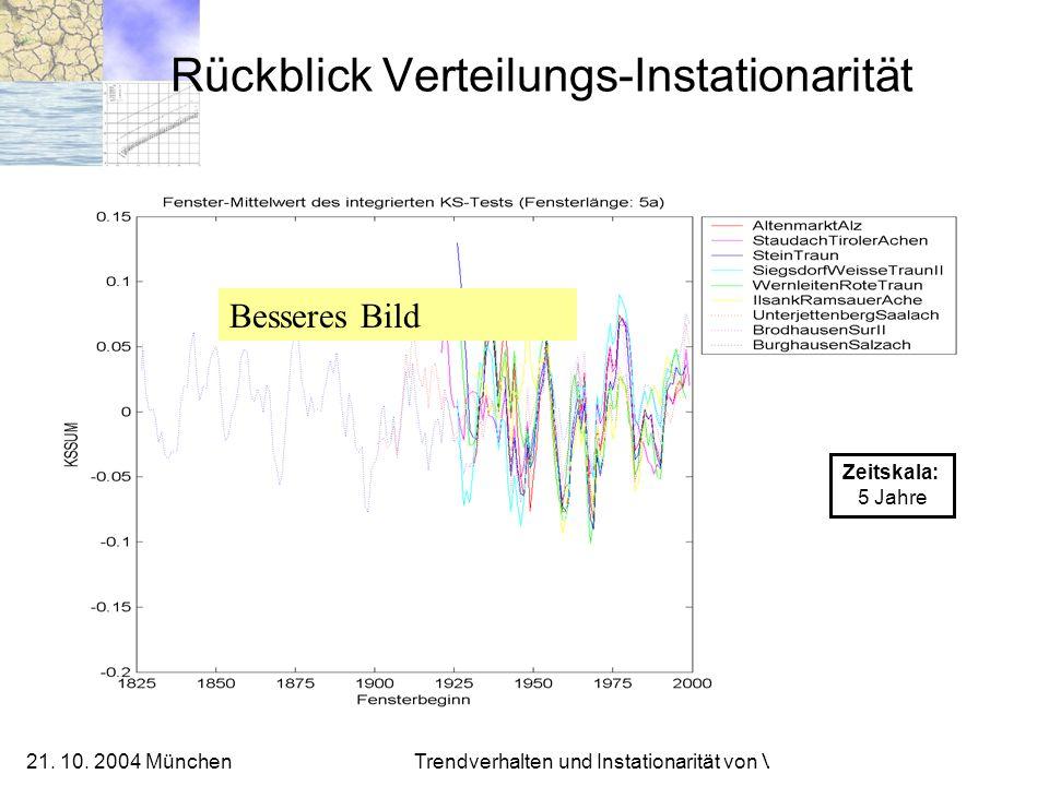 21. 10. 2004 München Trendverhalten und Instationarität von Verteilungen Rückblick Verteilungs-Instationarität Zeitskala: 5 Jahre Besseres Bild