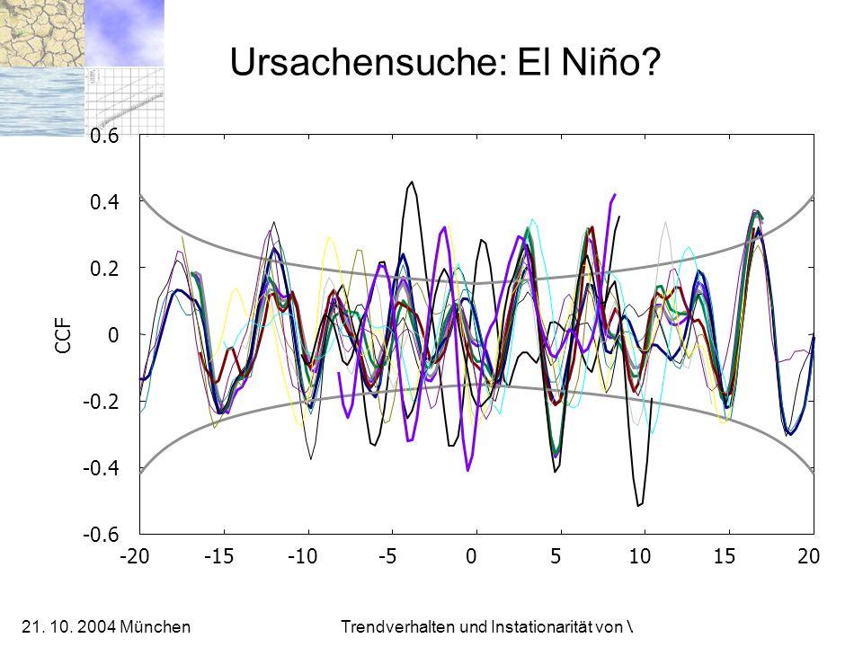 21. 10. 2004 München Trendverhalten und Instationarität von Verteilungen Ursachensuche: El Niño? -0.6 -0.4 -0.2 0 0.2 0.4 0.6 -20-15-10-505101520 CCF