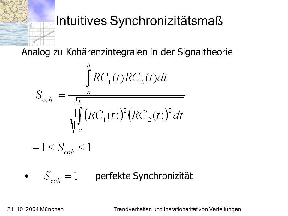 21. 10. 2004 München Trendverhalten und Instationarität von Verteilungen Intuitives Synchronizitätsmaß Analog zu Kohärenzintegralen in der Signaltheor