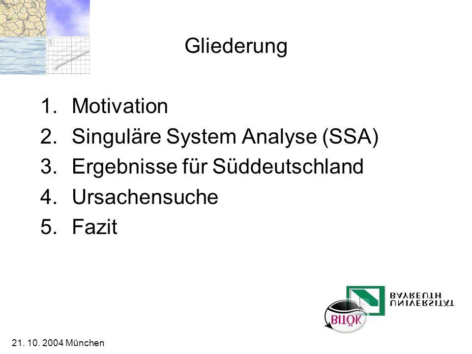 21. 10. 2004 München Gliederung 1.Motivation 2.Singuläre System Analyse (SSA) 3.Ergebnisse für Süddeutschland 4.Ursachensuche 5.Fazit