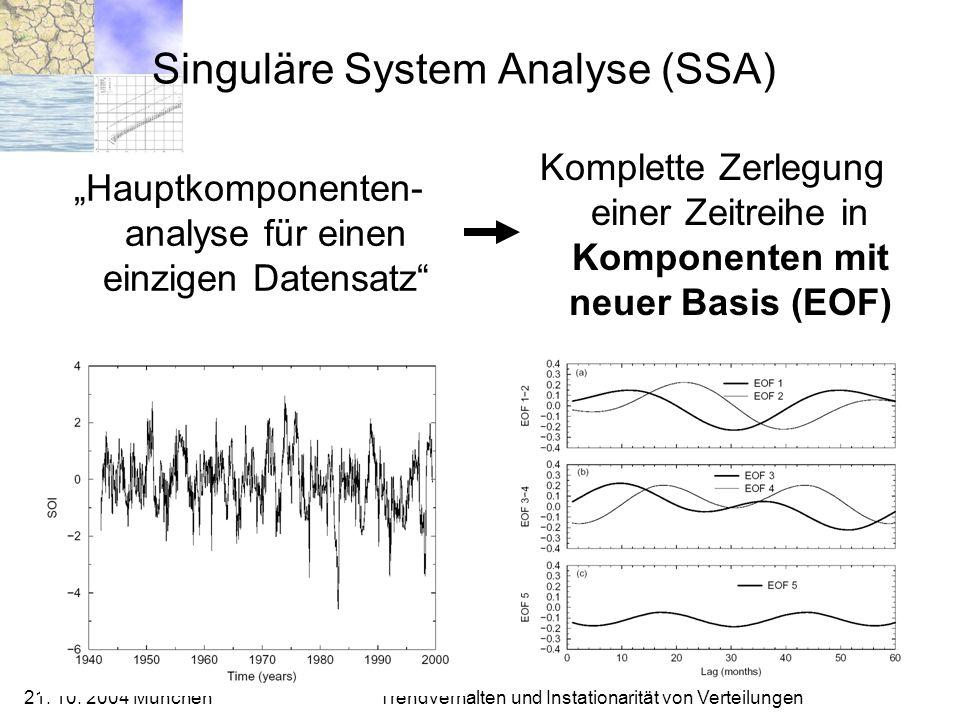 21. 10. 2004 München Trendverhalten und Instationarität von Verteilungen Singuläre System Analyse (SSA) Hauptkomponenten- analyse für einen einzigen D