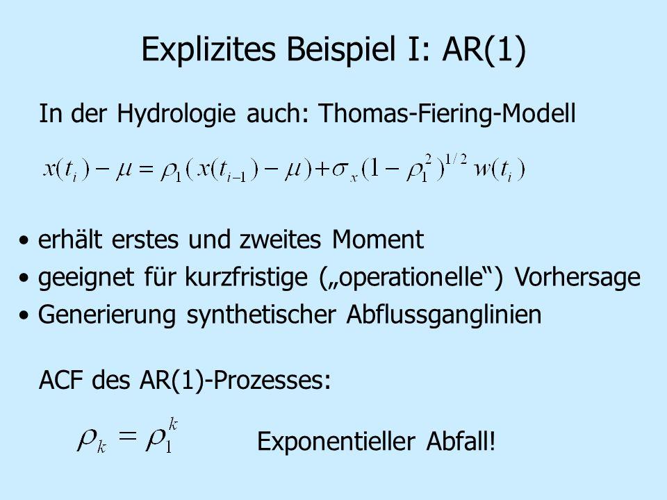 Explizites Beispiel I: AR(1) In der Hydrologie auch: Thomas-Fiering-Modell erhält erstes und zweites Moment geeignet für kurzfristige (operationelle) Vorhersage Generierung synthetischer Abflussganglinien ACF des AR(1)-Prozesses: Exponentieller Abfall!
