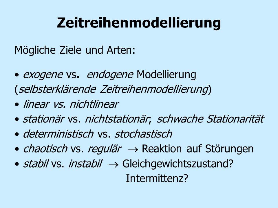 Zeitreihenmodellierung exogene vs. endogene Modellierung (selbsterklärende Zeitreihenmodellierung) linear vs. nichtlinear stationär vs. nichtstationär