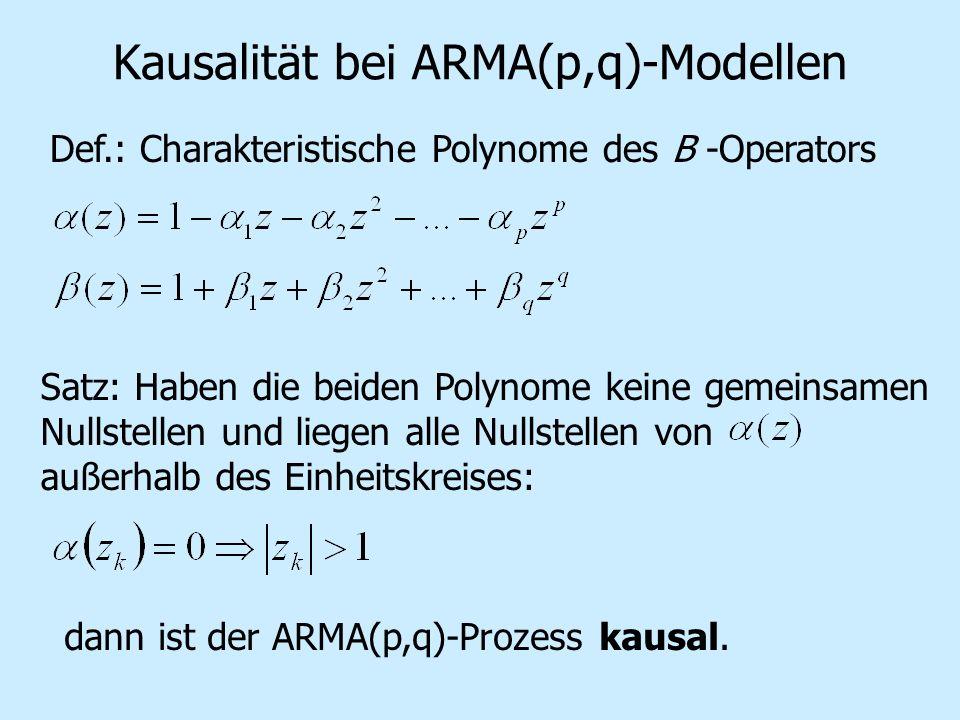 Kausalität bei ARMA(p,q)-Modellen Def.: Charakteristische Polynome des B -Operators Satz: Haben die beiden Polynome keine gemeinsamen Nullstellen und liegen alle Nullstellen von außerhalb des Einheitskreises: dann ist der ARMA(p,q)-Prozess kausal.