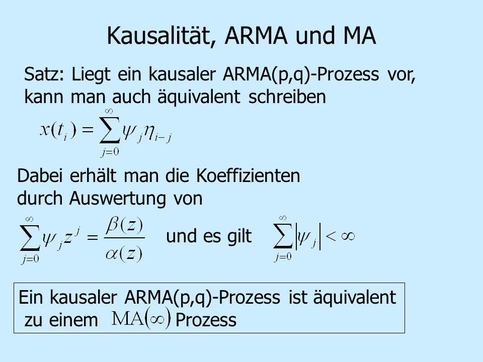 Kausalität, ARMA und MA Satz: Liegt ein kausaler ARMA(p,q)-Prozess vor, kann man auch äquivalent schreiben Dabei erhält man die Koeffizienten durch Auswertung von und es gilt Ein kausaler ARMA(p,q)-Prozess ist äquivalent zu einem Prozess