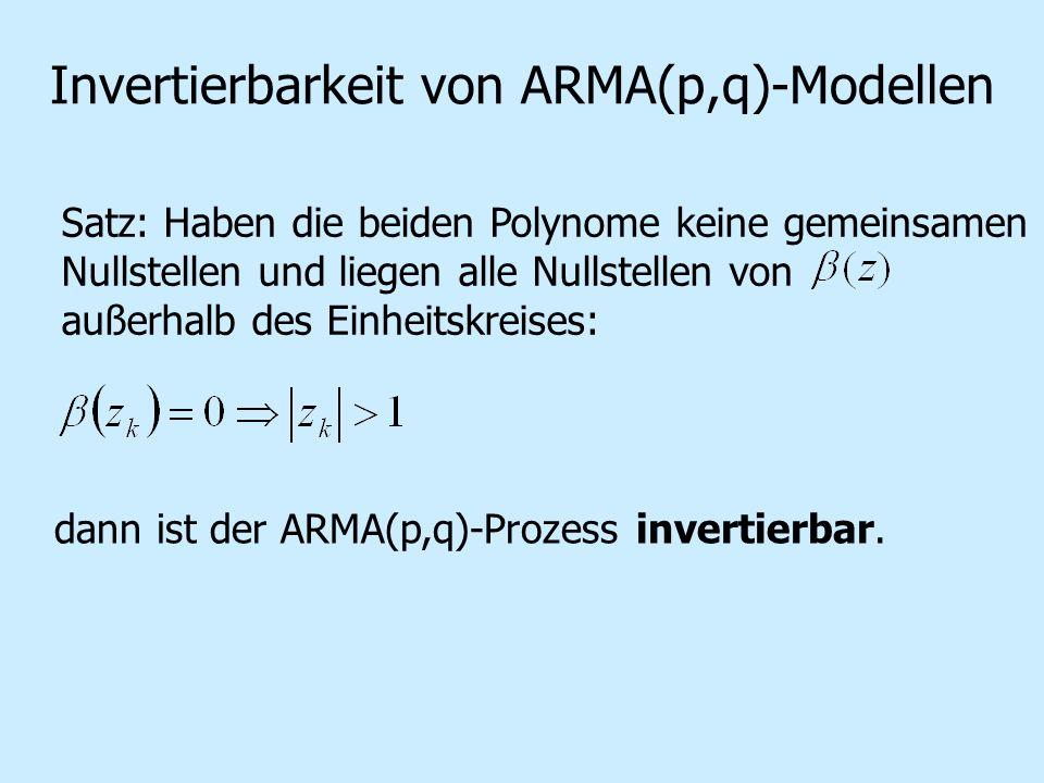 Invertierbarkeit von ARMA(p,q)-Modellen Satz: Haben die beiden Polynome keine gemeinsamen Nullstellen und liegen alle Nullstellen von außerhalb des Einheitskreises: dann ist der ARMA(p,q)-Prozess invertierbar.