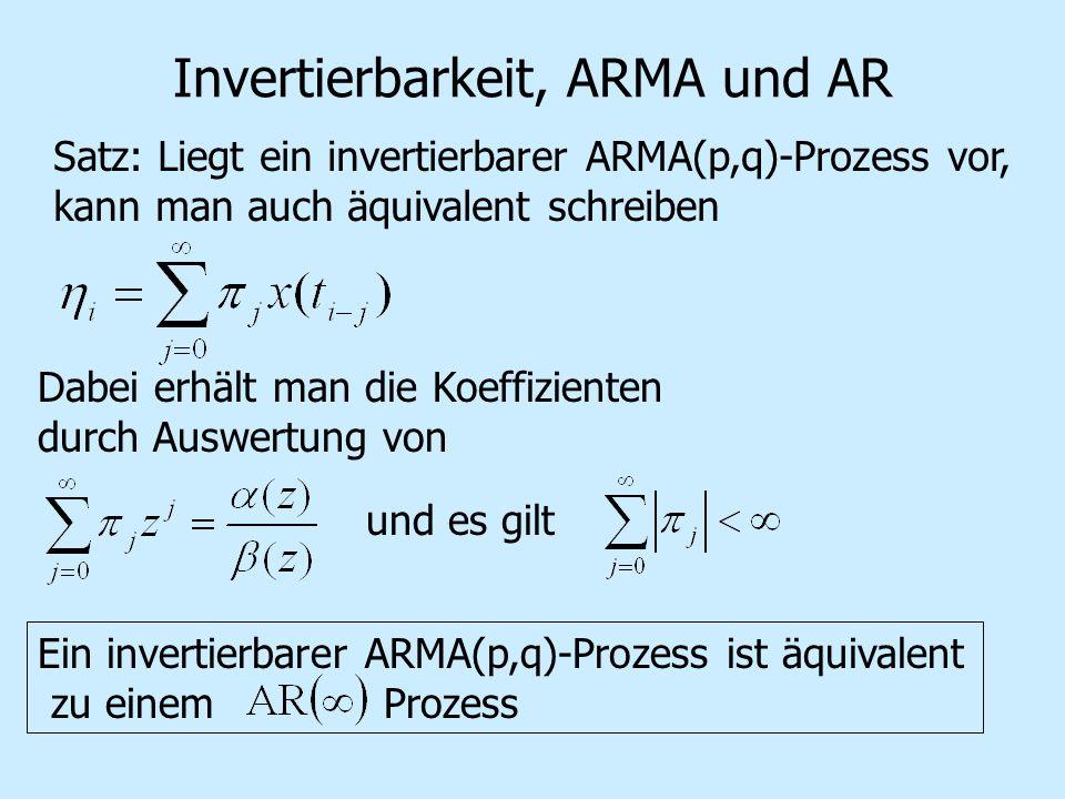 Invertierbarkeit, ARMA und AR Satz: Liegt ein invertierbarer ARMA(p,q)-Prozess vor, kann man auch äquivalent schreiben Dabei erhält man die Koeffizienten durch Auswertung von und es gilt Ein invertierbarer ARMA(p,q)-Prozess ist äquivalent zu einem Prozess