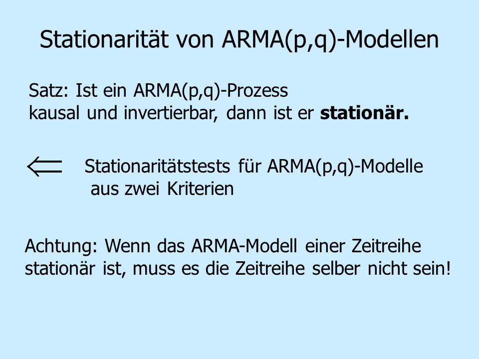Stationarität von ARMA(p,q)-Modellen Satz: Ist ein ARMA(p,q)-Prozess kausal und invertierbar, dann ist er stationär. Stationaritätstests für ARMA(p,q)