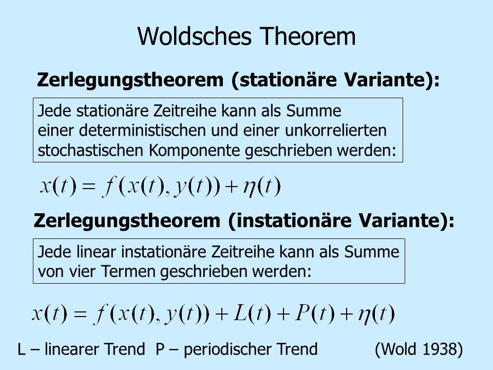 Woldsches Theorem Zerlegungstheorem (stationäre Variante): Jede linear instationäre Zeitreihe kann als Summe von vier Termen geschrieben werden: Zerlegungstheorem (instationäre Variante): Jede stationäre Zeitreihe kann als Summe einer deterministischen und einer unkorrelierten stochastischen Komponente geschrieben werden: L – linearer Trend P – periodischer Trend(Wold 1938)