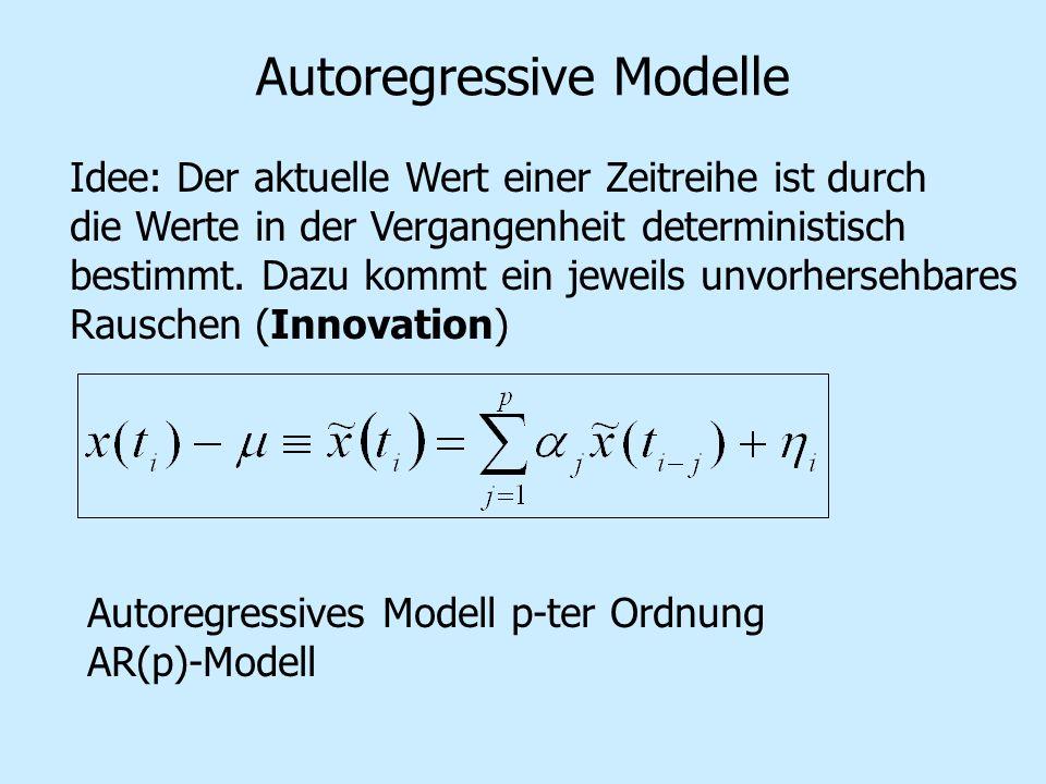 Autoregressive Modelle Idee: Der aktuelle Wert einer Zeitreihe ist durch die Werte in der Vergangenheit deterministisch bestimmt. Dazu kommt ein jewei