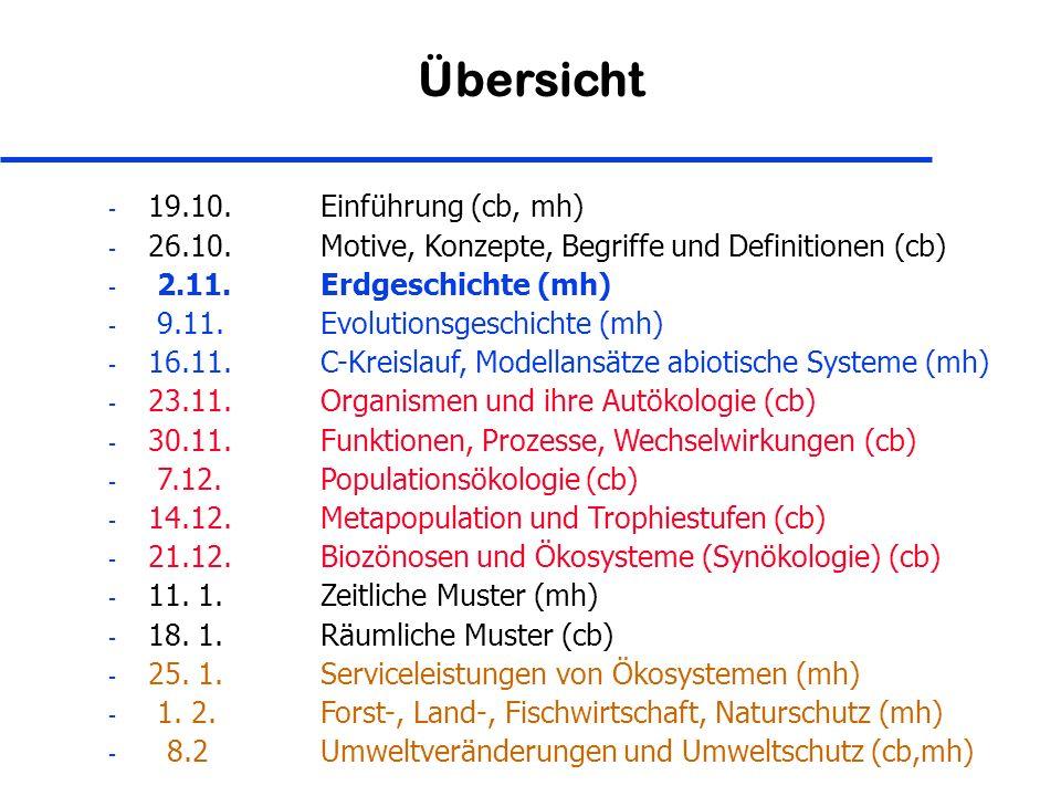 Übersicht - 19.10. Einführung (cb, mh) - 26.10. Motive, Konzepte, Begriffe und Definitionen (cb) - 2.11. Erdgeschichte (mh) - 9.11. Evolutionsgeschich