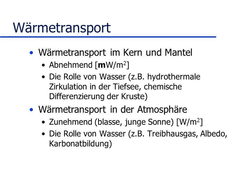 Wärmetransport Wärmetransport im Kern und Mantel Abnehmend [mW/m 2 ] Die Rolle von Wasser (z.B. hydrothermale Zirkulation in der Tiefsee, chemische Di