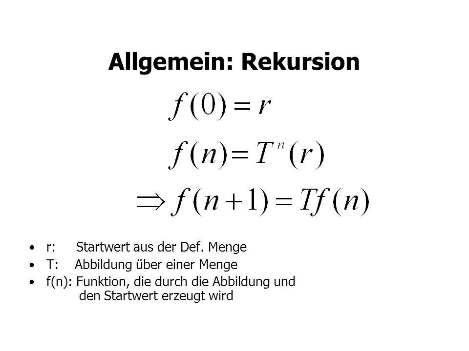 Allgemein: Rekursion r: Startwert aus der Def. Menge T: Abbildung über einer Menge f(n): Funktion, die durch die Abbildung und den Startwert erzeugt w