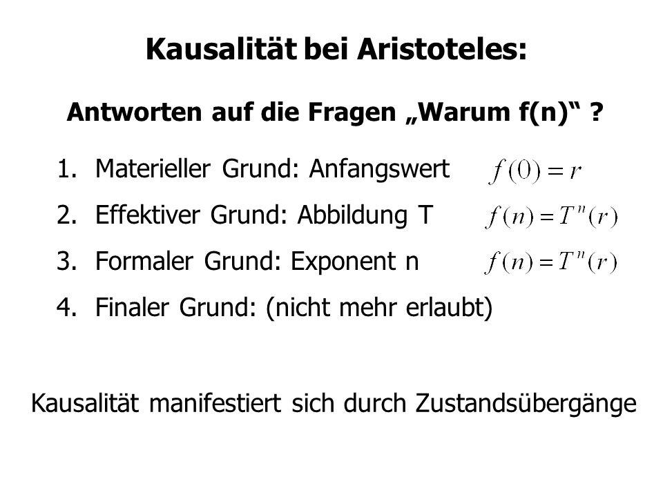 Kausalität bei Aristoteles: 1.Materieller Grund: Anfangswert 2.Effektiver Grund: Abbildung T 3.Formaler Grund: Exponent n 4.Finaler Grund: (nicht mehr