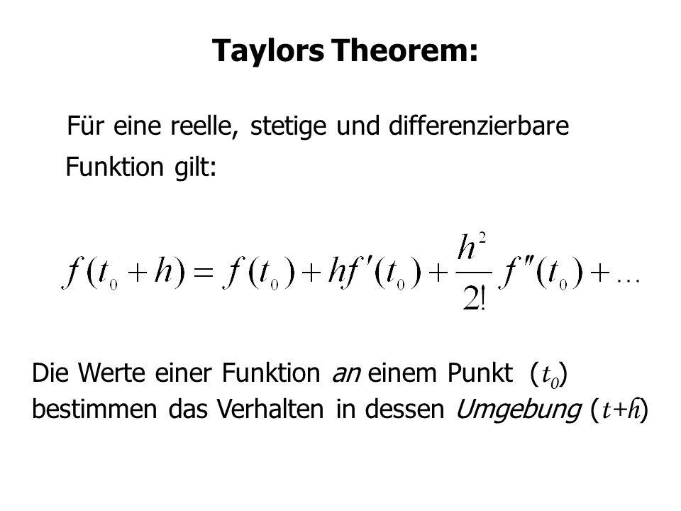 Taylors Theorem: Für eine reelle, stetige und differenzierbare Funktion gilt: Die Werte einer Funktion an einem Punkt ( t 0 ) bestimmen das Verhalten