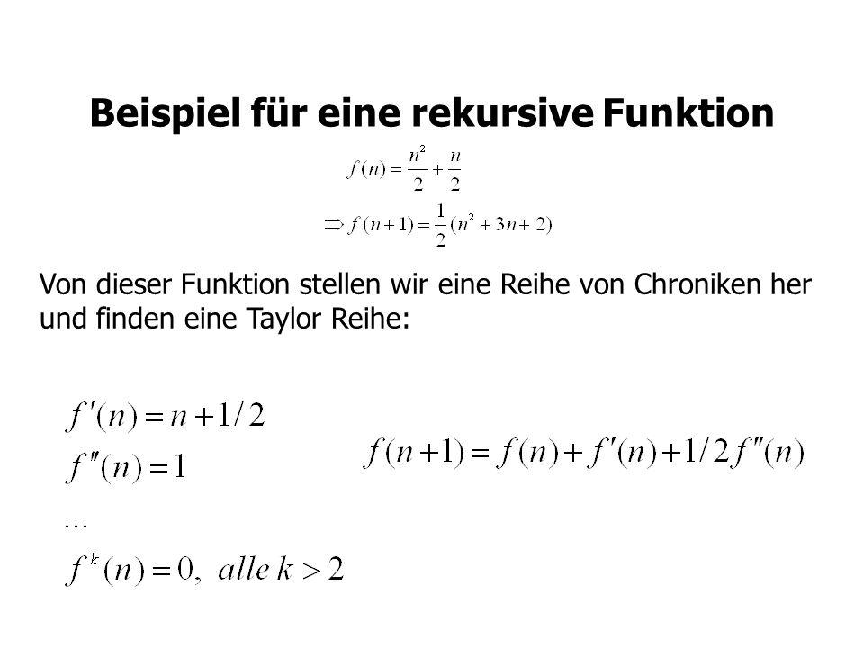 Beispiel für eine rekursive Funktion Von dieser Funktion stellen wir eine Reihe von Chroniken her und finden eine Taylor Reihe: