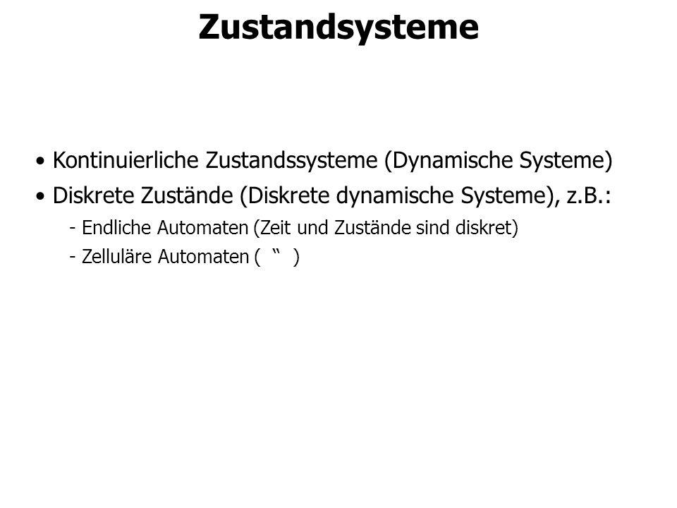 Kontinuierliche Zustandssysteme (Dynamische Systeme) Diskrete Zustände (Diskrete dynamische Systeme), z.B.: - Endliche Automaten (Zeit und Zustände si
