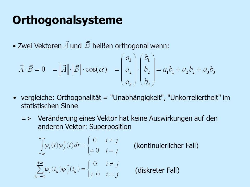 Zwei Vektoren und heißen orthogonal wenn: Orthogonalsysteme vergleiche: Orthogonalität =