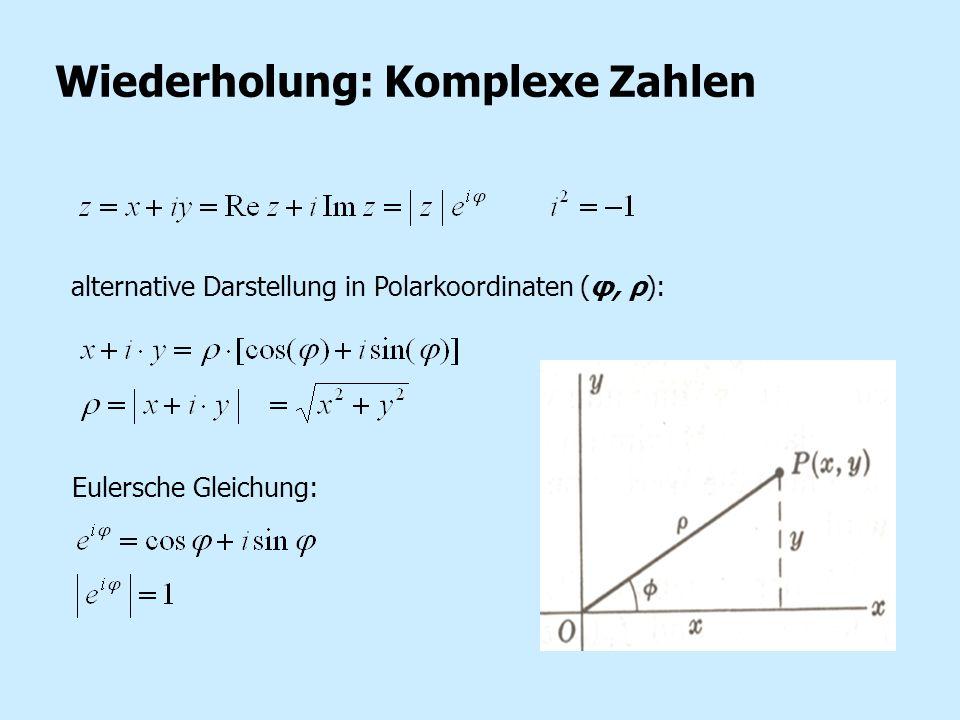Wiederholung: Komplexe Zahlen alternative Darstellung in Polarkoordinaten (φ, ρ): Eulersche Gleichung: