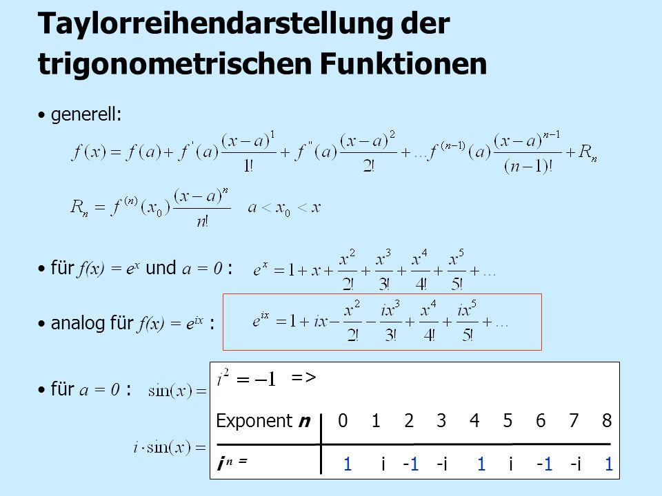 generell: für f(x) = e x und a = 0 : analog für f(x) = e ix : für a = 0 : => Taylorreihendarstellung der trigonometrischen Funktionen => Exponent n 0