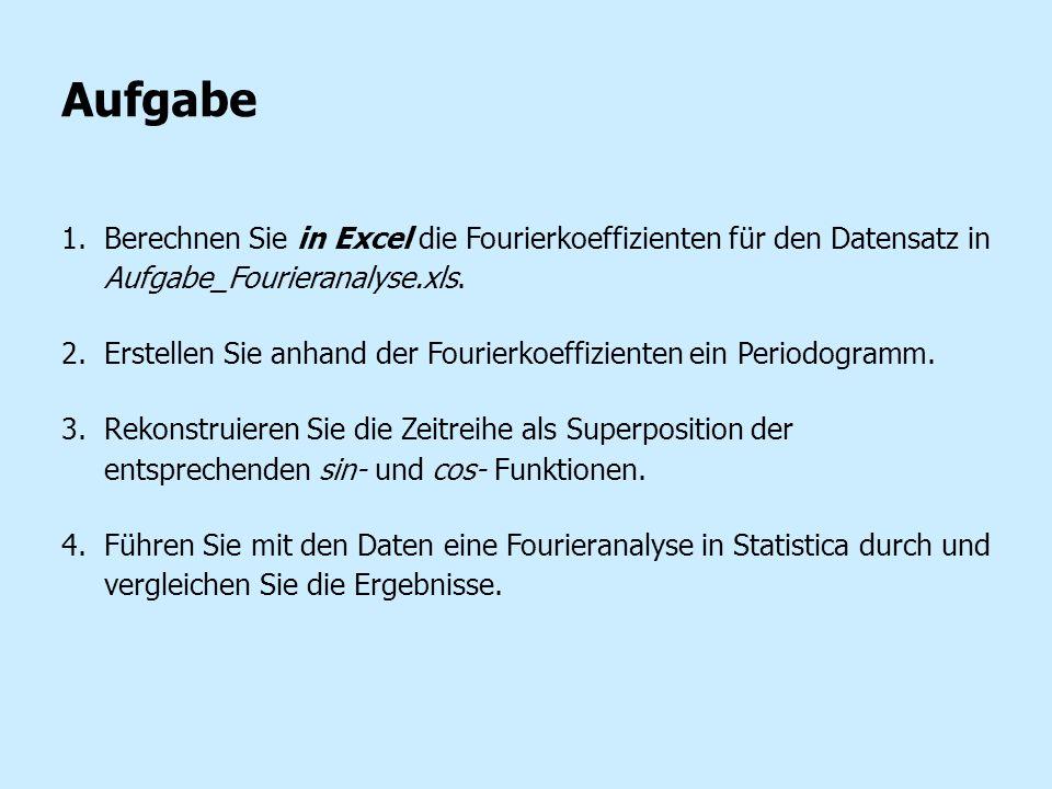 Aufgabe 1.Berechnen Sie in Excel die Fourierkoeffizienten für den Datensatz in Aufgabe_Fourieranalyse.xls. 2.Erstellen Sie anhand der Fourierkoeffizie