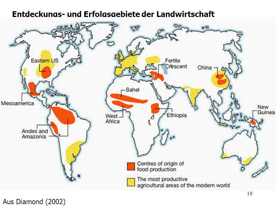 18 Entdeckungs- und Erfolgsgebiete der Landwirtschaft Aus Diamond (2002)