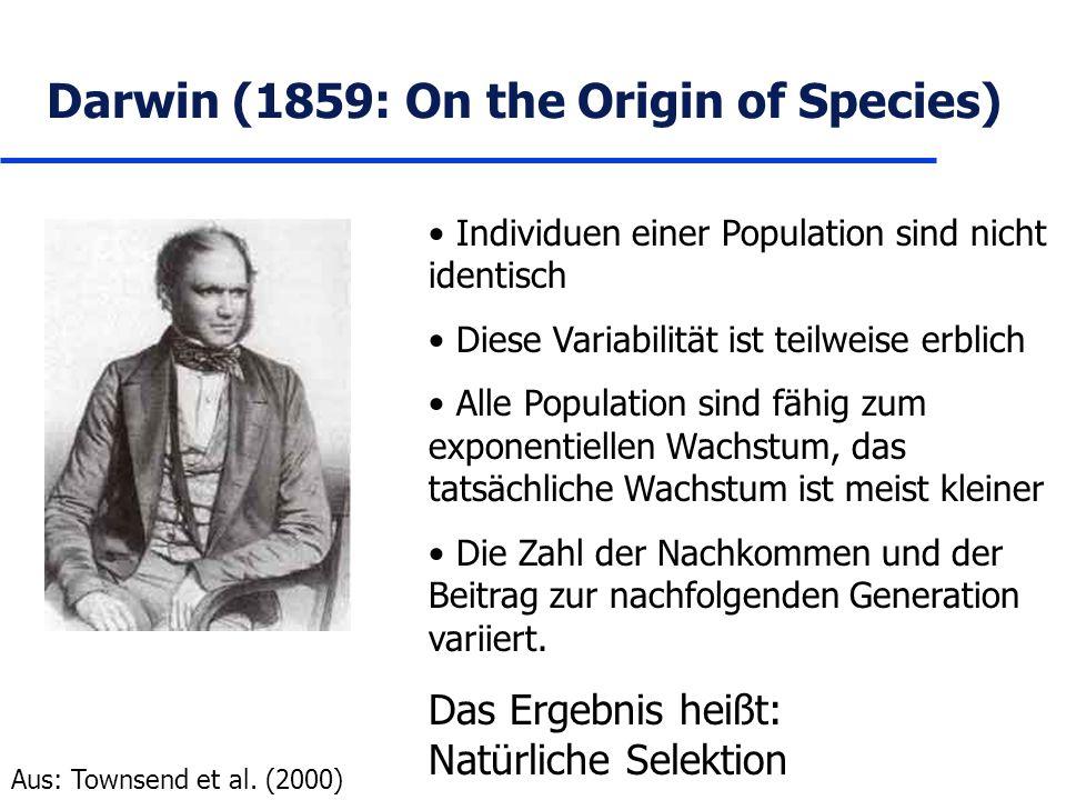 Darwin (1859: On the Origin of Species) Aus: Townsend et al. (2000) Individuen einer Population sind nicht identisch Diese Variabilität ist teilweise
