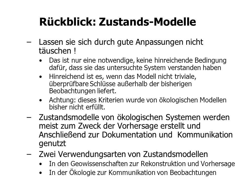 Rückblick: Zustands-Modelle –Lassen sie sich durch gute Anpassungen nicht täuschen ! Das ist nur eine notwendige, keine hinreichende Bedingung dafür,