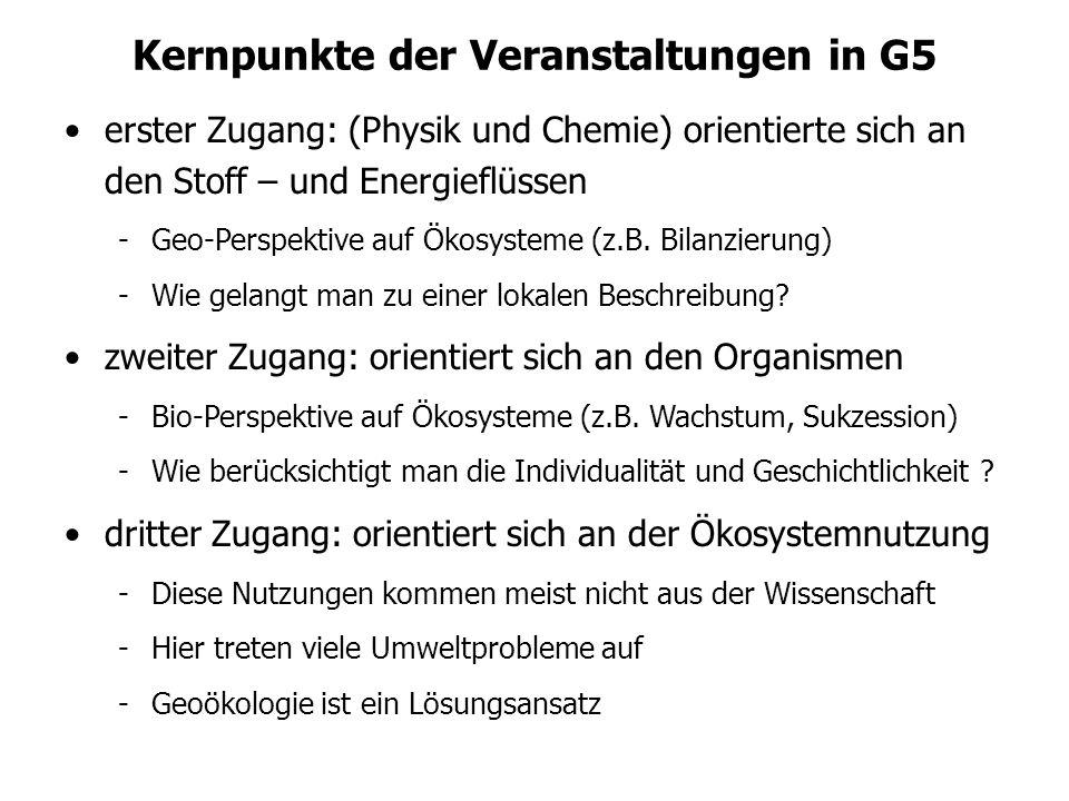 Kernpunkte der Veranstaltungen in G5 erster Zugang: (Physik und Chemie) orientierte sich an den Stoff – und Energieflüssen -Geo-Perspektive auf Ökosys
