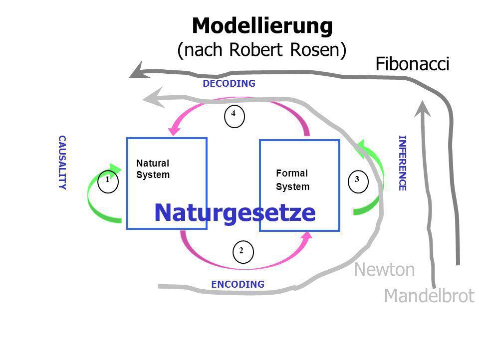 Modellierung (nach Robert Rosen) Natural System ENCODING DECODING Formal System INFERENCE CAUSALITY 1 2 4 3 Naturgesetze Newton Mandelbrot Fibonacci